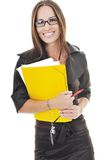 Business woman hold papers and folder Royalty Free Stock Photos