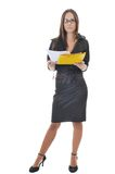 Business woman hold papers and folder Royalty Free Stock Image