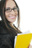 Business woman hold papers and folder Stock Photography