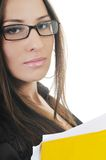 Business woman hold papers and folder Stock Photos