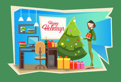 Business Woman Hold Present Box Gift Merry Christmas And Happy New Year Celebration Office Interior Royalty Free Stock Photography