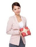 Business woman hold with present box Stock Image