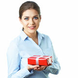 Business woman hold present. Isolated white backgr Stock Photo