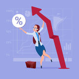 Business Woman Hold Red Arrow Up Financial Success Concept. Flat Vector Illustration Stock Photography