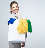 Business woman hold shopping bags isolated on white background. Stock Image
