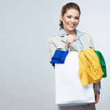 Business woman hold shopping bags isolated on white background. Stock Photography