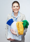 Business woman hold shopping bags  on white background. Stock Image