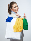 Business woman hold shopping bags  on white background. Stock Photo