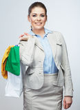 Business woman hold shopping bags  on white background. Stock Photography