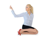 Business woman hold something. Isolated business woman hold something Stock Images