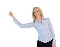 Business woman hold something small Royalty Free Stock Image