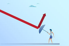 Business Woman Hold Umbrella Rise Arrow Up Crisis Protection Concept Royalty Free Stock Image