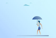 Business Woman Hold Umbrella Stand Rain Protection Security Concept Royalty Free Stock Photography