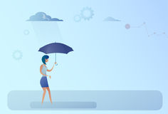 Business Woman Hold Umbrella Stand Rain Protection Security Concept. Flat Vector Illustration Royalty Free Stock Images