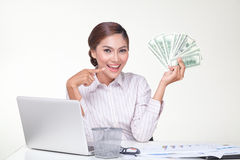 Business woman hold US bank notes in hand Royalty Free Stock Photos