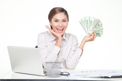 Business woman hold US bank notes in hand Stock Photography