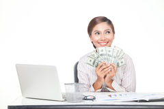 Business woman hold US bank notes in hand Royalty Free Stock Photo