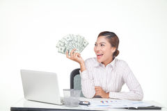 Business woman hold US bank notes in hand Stock Images
