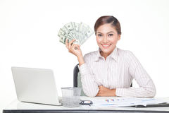 Business woman hold US bank notes in hand Stock Image