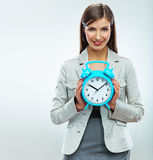 Business woman hold watch. Time concept. Smiling g Stock Photos