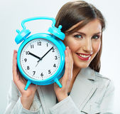 Business woman hold watch. Time concept. Smiling girl portrait, Royalty Free Stock Image