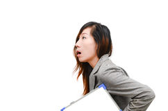Business woman hold white blank paper. Royalty Free Stock Photography
