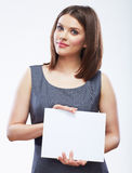 Business woman hold white blank paper. Young smili Stock Photos