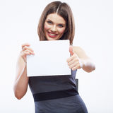 Business woman hold white blank paper. Young smili Stock Photography