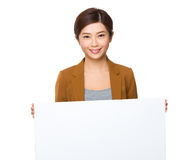 Business woman hold with white board Royalty Free Stock Photography