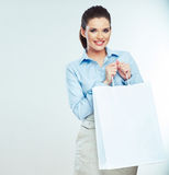 Business woman hold white shopping bag. Stock Photos