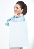 Business woman hold white shopping bag. Stock Image