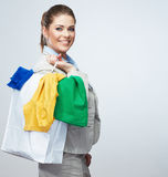 Business woman hold white shopping bag turned back. Royalty Free Stock Images