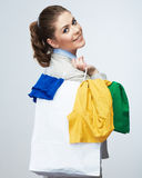 Business woman hold white shopping bag turned back Stock Photo