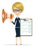 Business woman holding agreement and megaphone. Royalty Free Stock Image