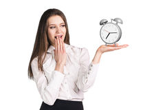 Business woman holding the alarm clock Royalty Free Stock Image