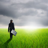 Business woman holding bag in green rice field and rainclouds Royalty Free Stock Photography