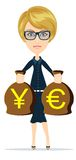 Business woman holding bags of money, vector illustration Stock Images