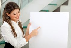 Business woman holding a banner Royalty Free Stock Photography