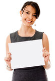 Business woman holding a banner Stock Images