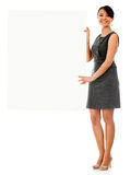 Business woman holding a banner Royalty Free Stock Photo