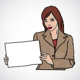 Business woman holding a banner Royalty Free Stock Image