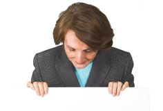 Business woman holding a banner Royalty Free Stock Images