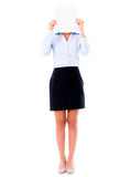 Business woman holding banner ad Stock Photo