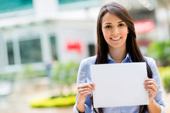 Business woman holding banner Stock Image