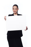 Business woman holding a banner. Happy Smiling Young Business Woman Holding Blank Placard. Isolated On White Stock Image