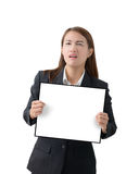 Business woman holding a banner isolated. Asian Business woman holding a banner isolated on white background Royalty Free Stock Photo
