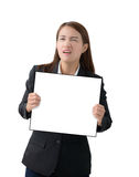 Business woman holding a banner isolated. Asian Business woman holding a banner isolated on white background Royalty Free Stock Image