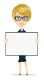 Business woman holding a banner - isolated over Royalty Free Stock Image
