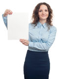 Business woman holding a banner Royalty Free Stock Photos
