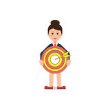Business woman holding big aim target bravely Royalty Free Stock Images